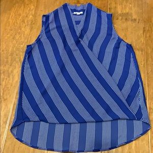 Pleiione blue striped sleeveless top